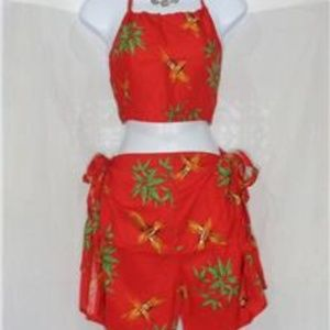 Other - TAHTITI TIE WRAP SARONG 2 PIECE RED COVER UP